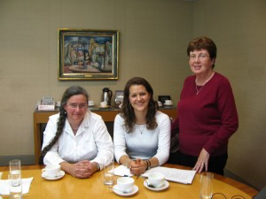Alice Clay (centre), Vice Chair Joanna  Murray (left), Chair Elspeth Richards (right)