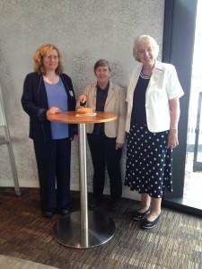 Joanna Murray (left) Prof Janet Dine (centre) Lady Appleyard (right)
